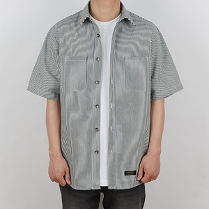 OVERSIZE STRIPE SHIRT (NAVY)